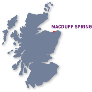 A map of Scotland Highlighting MacDuff, the source of MacB natural spring water