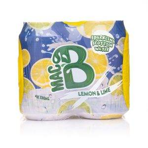 A 4-pack multi-pack of Macb Lemon & Lime flavoured sparkling water