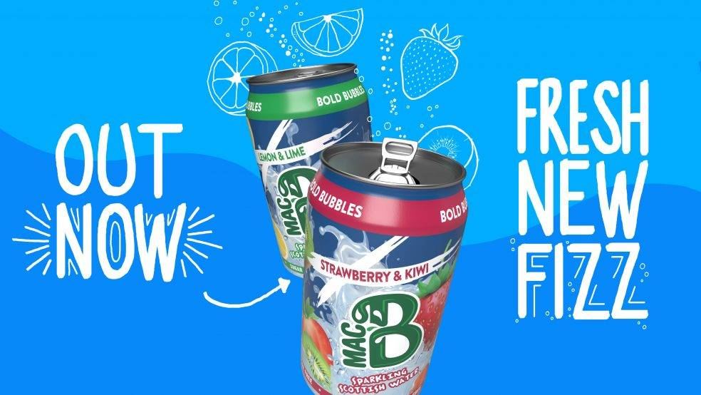 Macb sparkling flavoured spring water cans are out now, fresh new fizz with our strawberry & kiwi, Lemon & Lime flavoured water